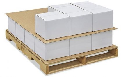 Pallatised boxes on non-slip sheets